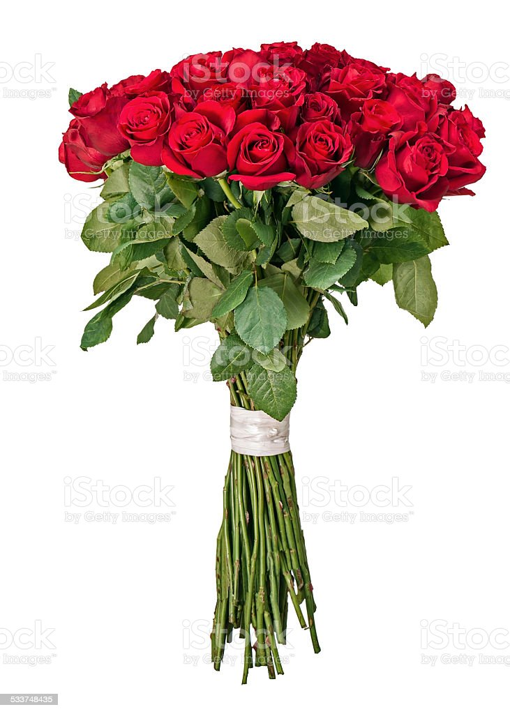Colorful Flower Bouquet From Red Roses Isolated On White Backgro ...