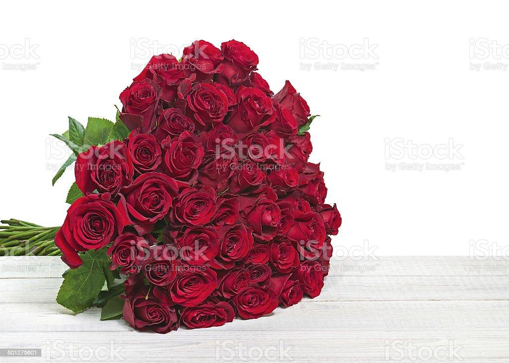 Bunte Blumen Blumenstrauss Rote Rosen Isoliert Uber Holzerne Backgr