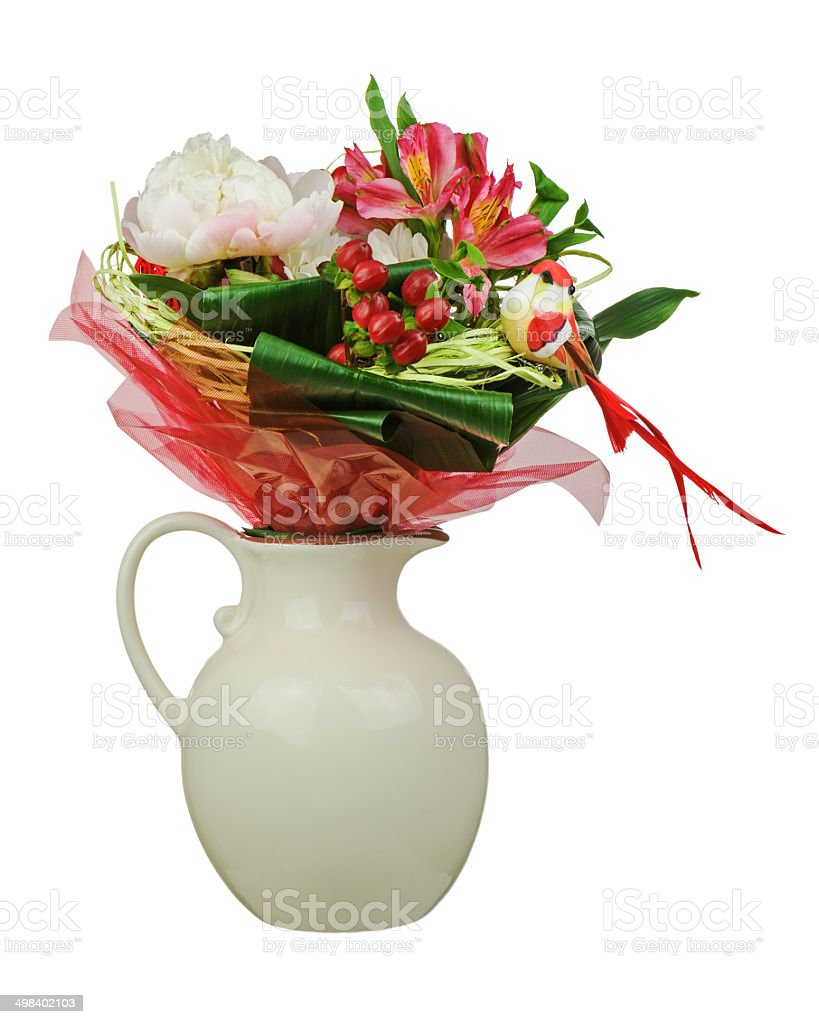 Colorful flower bouquet isolated on white background. royalty-free stock photo