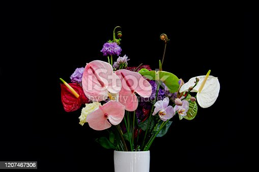 Colorful flower bouquet with red and white Flamingo Flowers, violet Lisianthus or Eustoma, Orchid and rolled up fern isolated on black background
