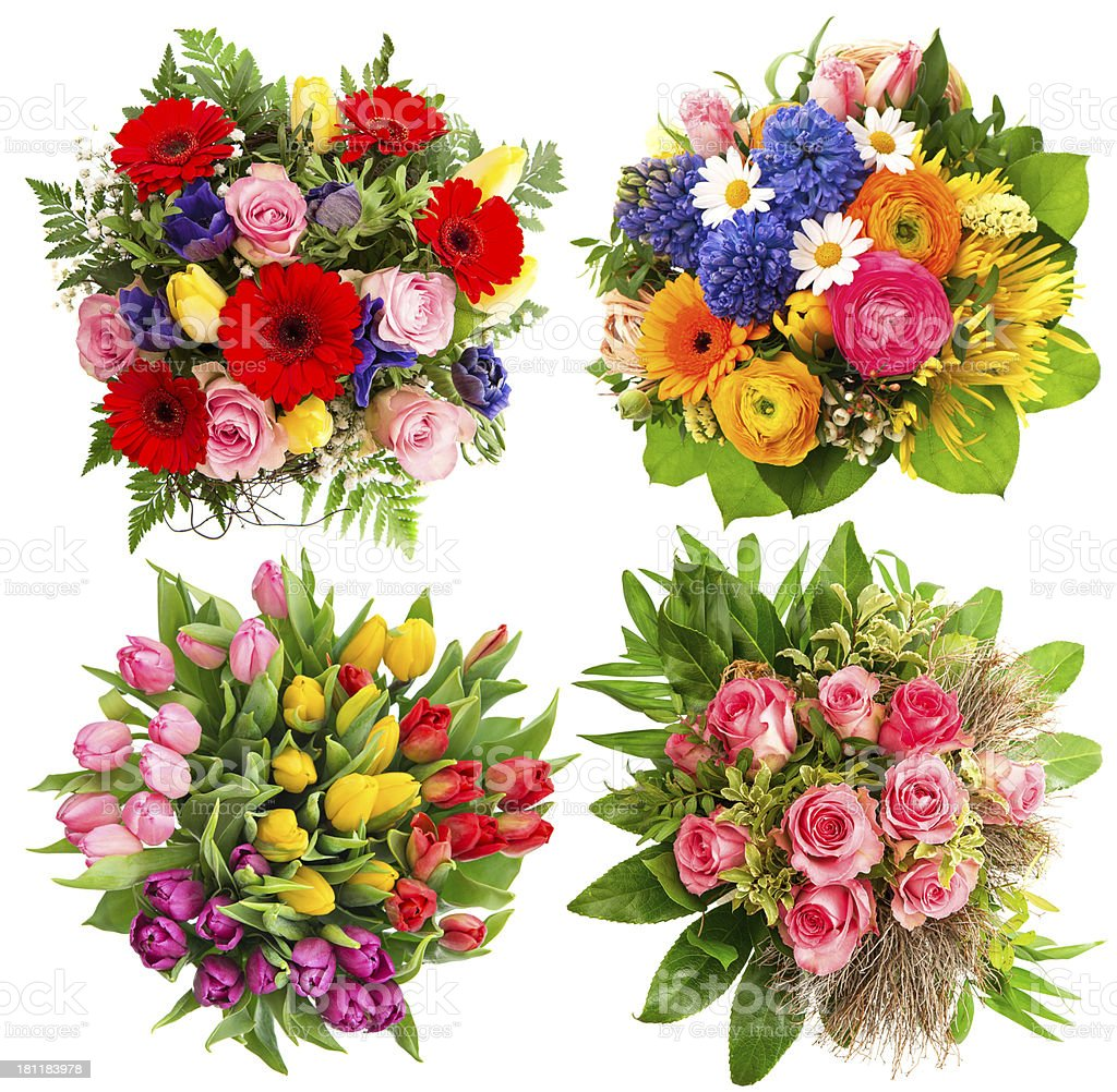 colorful flower bouquets for Birthday, Wedding stock photo