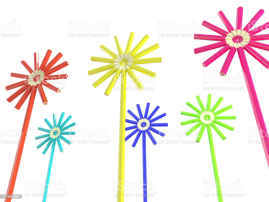 colorful flower  with pencils  on white bacground royalty-free stock photo