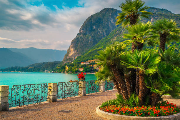 Colorful flowers and beautiful promenade, Lake Como, Menaggio, Lombardy, Italy stock photo