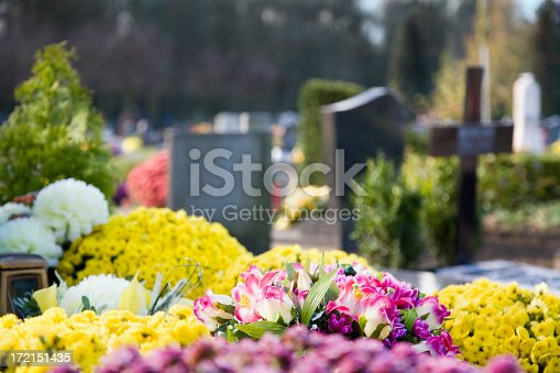 Flowers on the graves, with tombstones in the background.