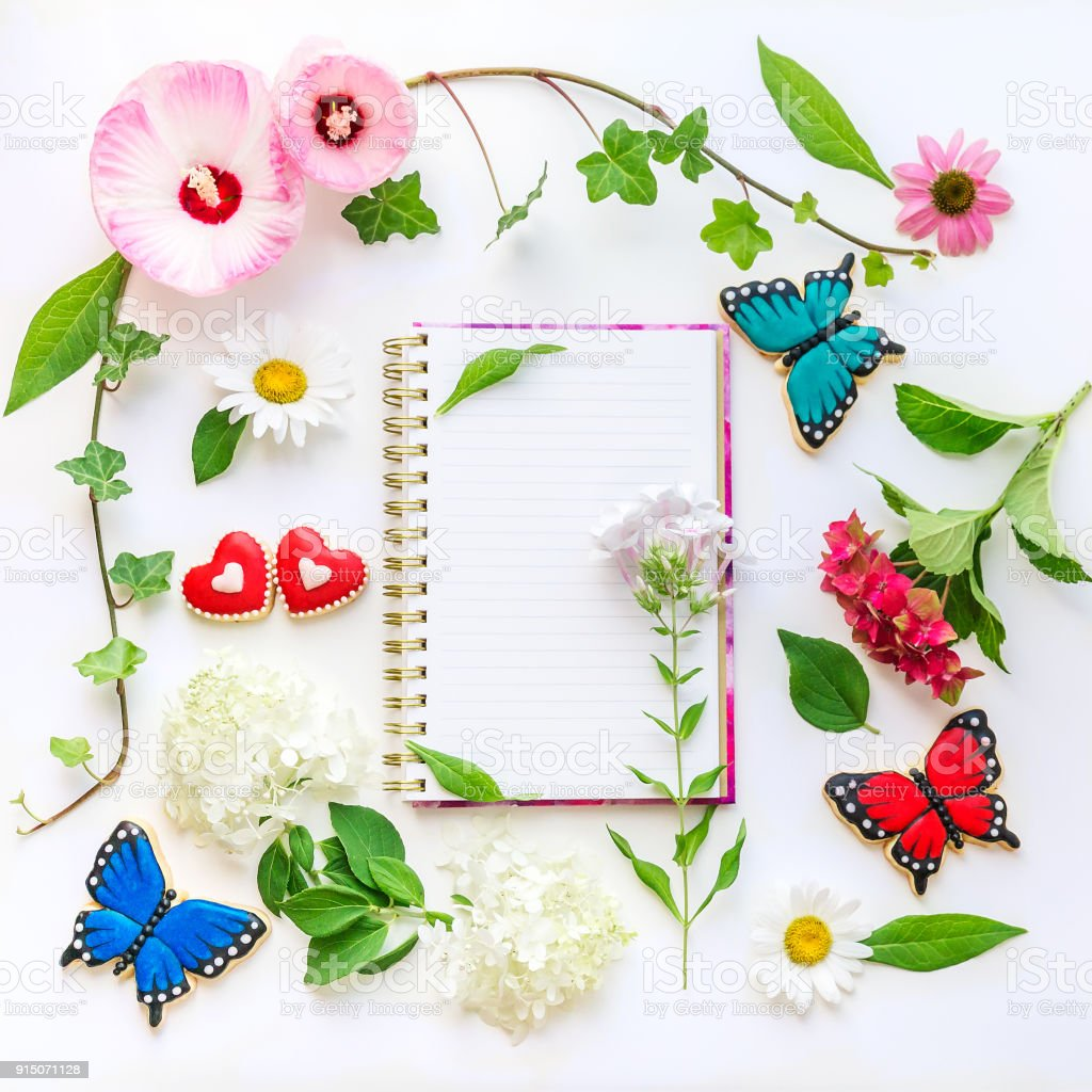 Colorful Flowers And Homemade Butterfly And Heart Shaped