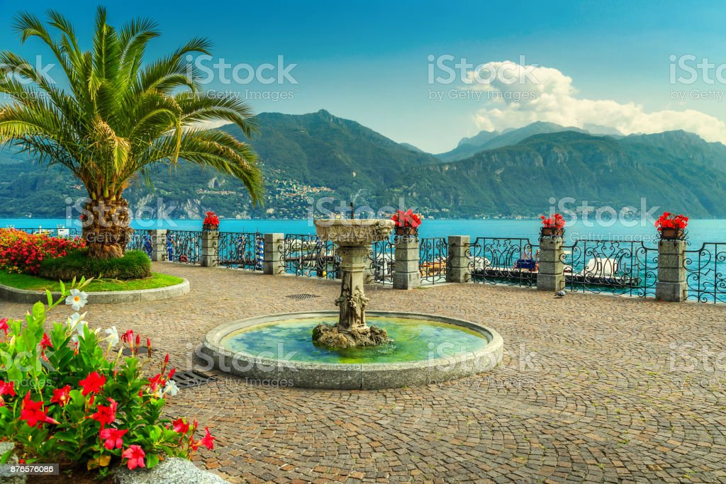 Colorful flowers and spectacular promenade, Lake Como, Lombardy region, Italy stock photo