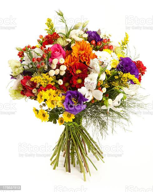 """Colorful flower bouquet. Chrysanthemum, Spider Chrysanthemun, Anemone, Lisianthus, Rose, Alstroemeria and Goldenrod. Isolated on white. Front view."""