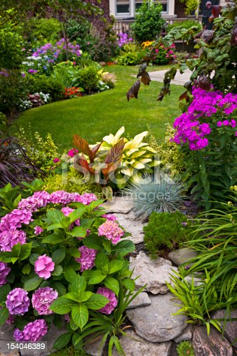 istock Colorful flowers in a neat garden 154046389