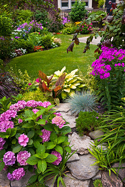 Colorful flowers in a neat garden Lush landscaped garden with flowerbed and colorful plants perennial stock pictures, royalty-free photos & images