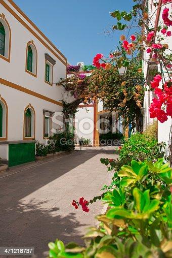 946294510 istock photo Colorful flowers in beautiful alley - Puerto de Mogan 471218737
