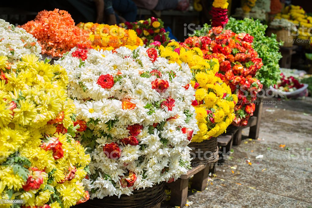 Colorful flowers in the flower market stock photo