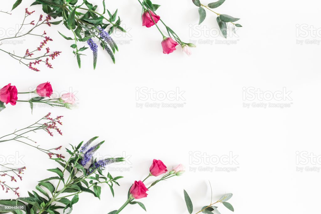 Flowers composition. Frame made of various colorful flowers on white...
