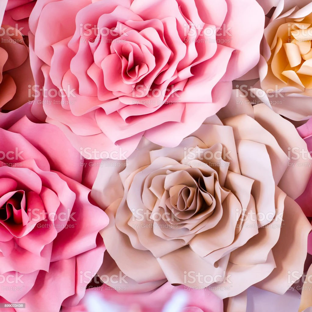 Colorful Flowers Paper Background Red Pink Purple Brown Yellow And