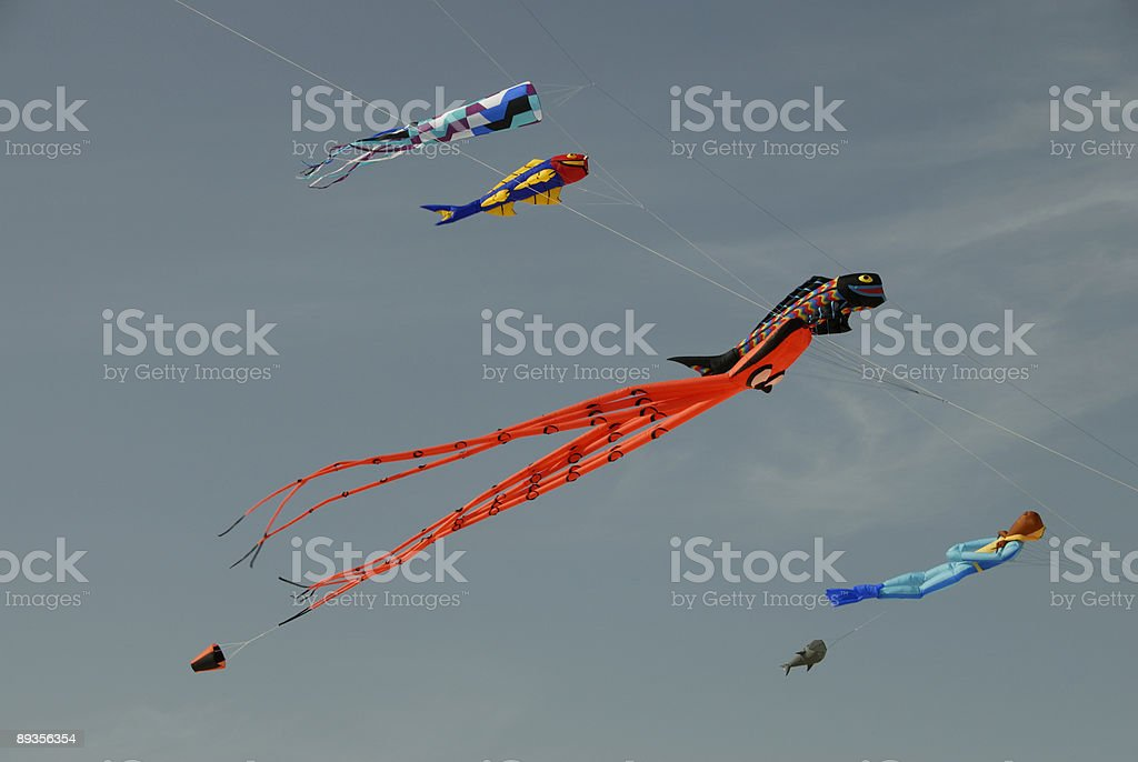 Colorful Flying Kites royaltyfri bildbanksbilder