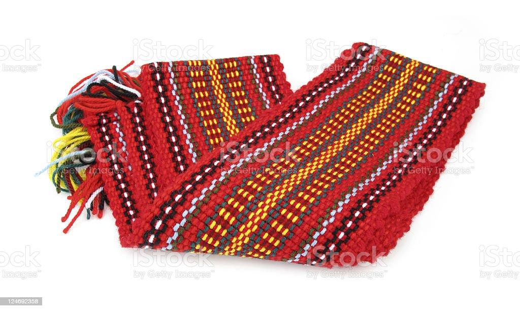 Colorful folk costume belt called tkanica stock photo