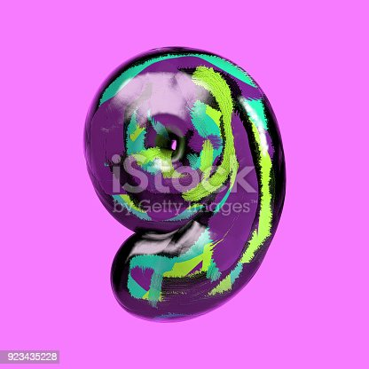 istock Colorful Font with Vibrant Pastel Splash Color. Number 9 923435228