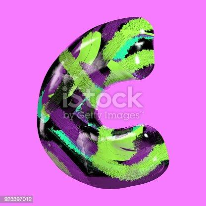 istock Colorful Font with Vibrant Pastel Splash Color Paint. Letter C 923397012