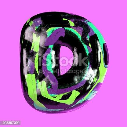 istock Colorful Font with Vibrant Pastel Splash Color Paint. Letter D 923397092