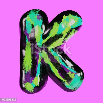 istock Colorful Font with Vibrant Pastel Splash Color Paint. Letter K 923398322