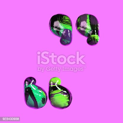istock Colorful Font with Vibrant Pastel Splash Color Paint. Quotation Marks. 923400938