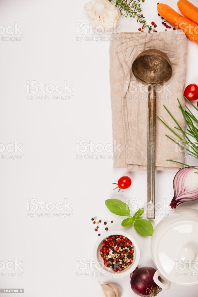 Colorful food ingredients on white background royalty-free stock photo