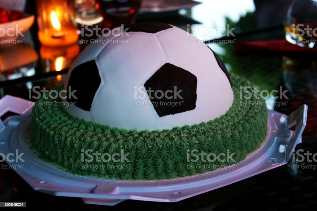 Outstanding Colorful Football Birthday Cake Stock Photo Download Image Now Birthday Cards Printable Giouspongecafe Filternl