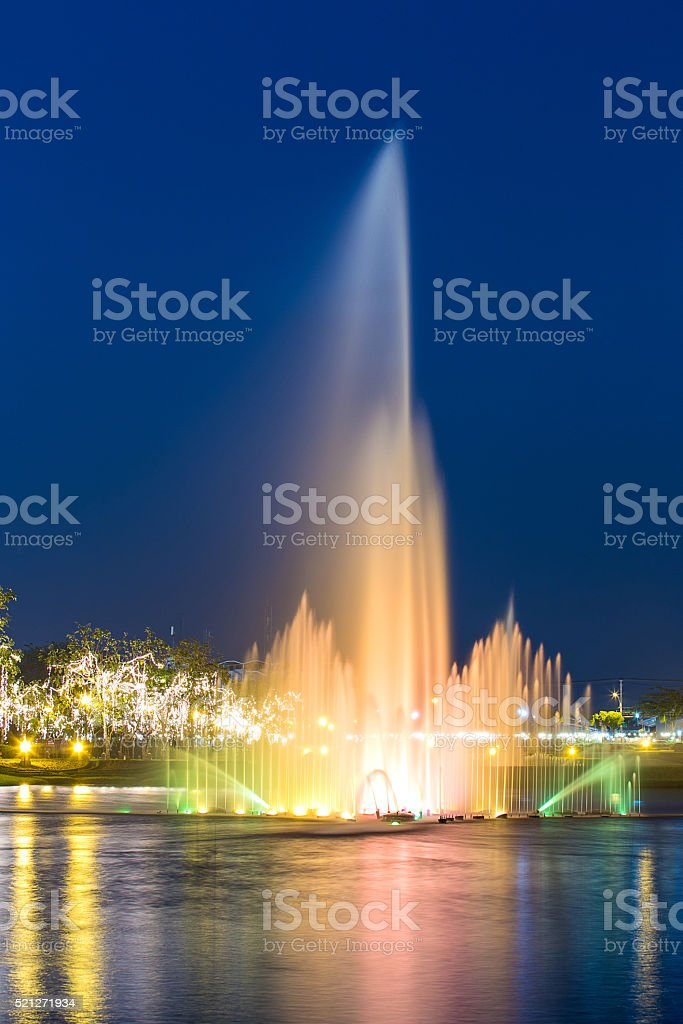 Colorful fountain in blue hour stock photo