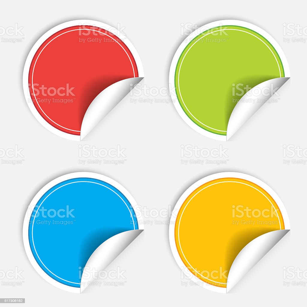 Colorful four blank stickers set. Badge collection illustration stock photo
