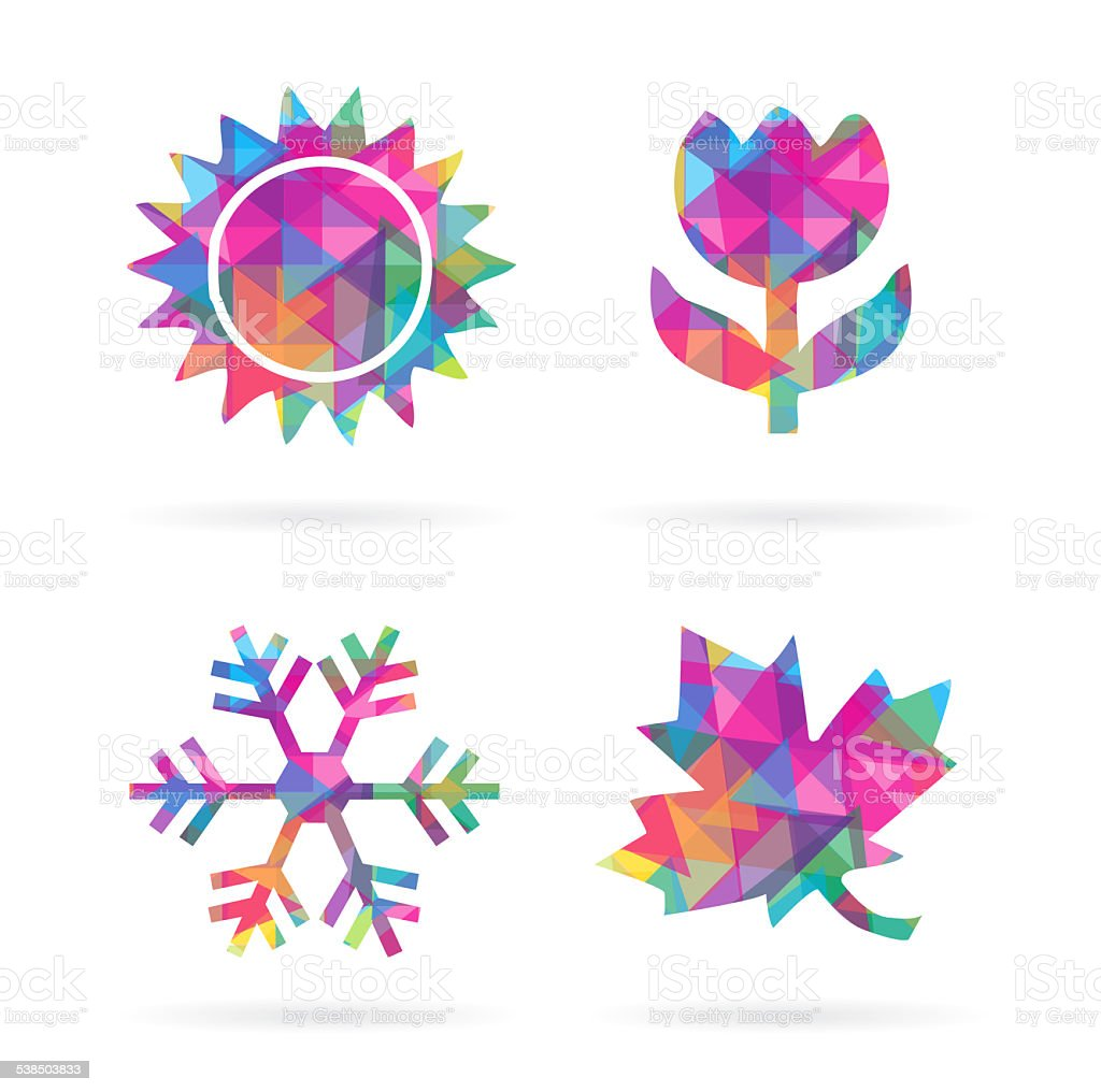 Colorful Four Seasons Icons stock photo