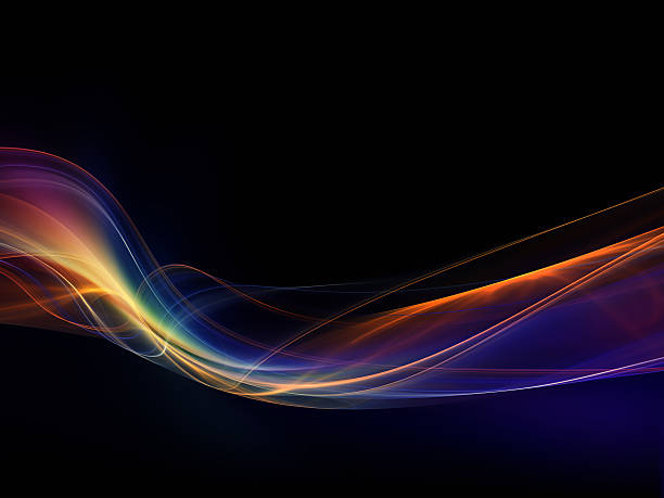 Colorful fractal wave on black background stock photo