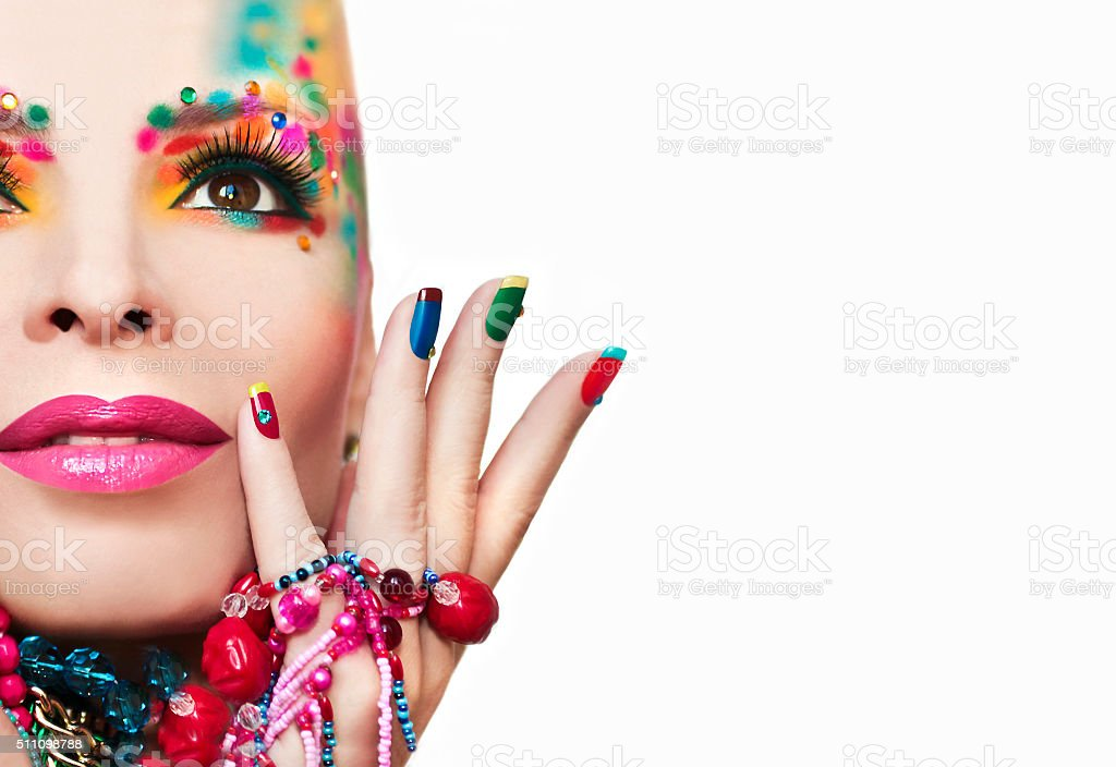 Colorful French manicure and makeup. stock photo