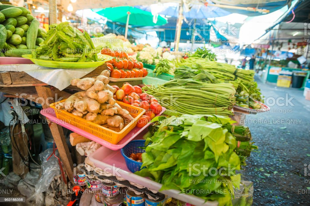 In Phuket Town, Thailand a variety of fresh food is displayed for...