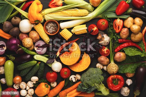 istock Colorful fresh organic vegetables background 928301960