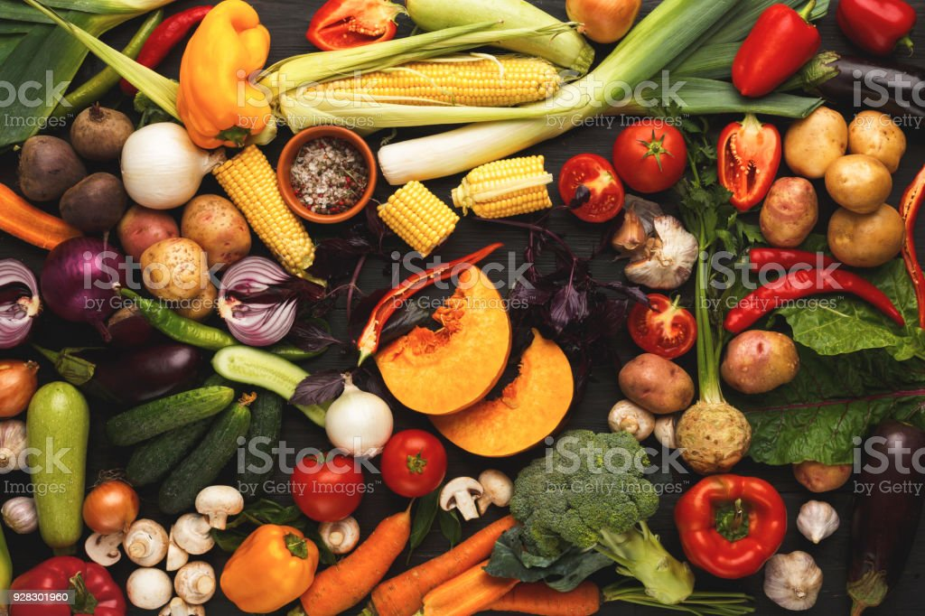 Colorful fresh organic vegetables background stock photo