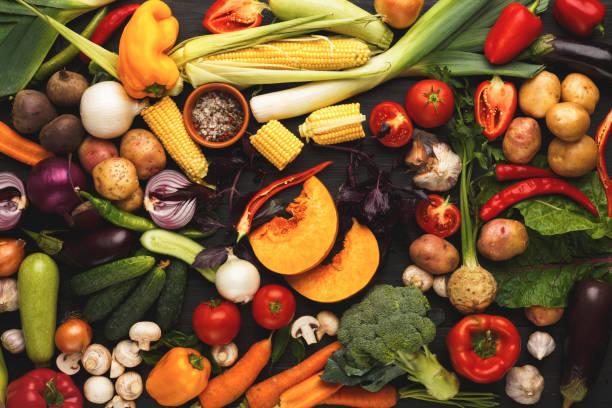 Colorful fresh organic vegetables background stock photo