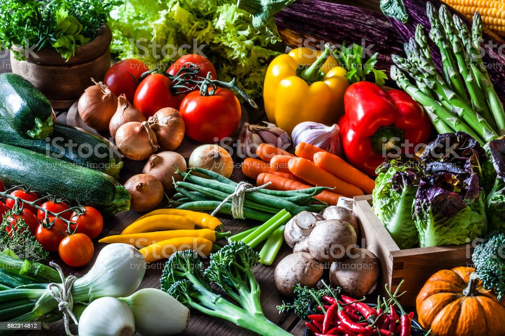 Colorful fresh organic vegetables stock photo