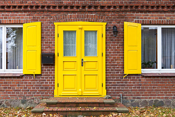 Colorful front door stock photo