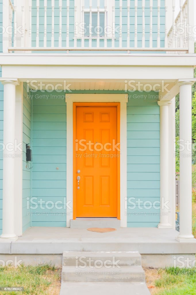 Colorful front facade or porch stock photo