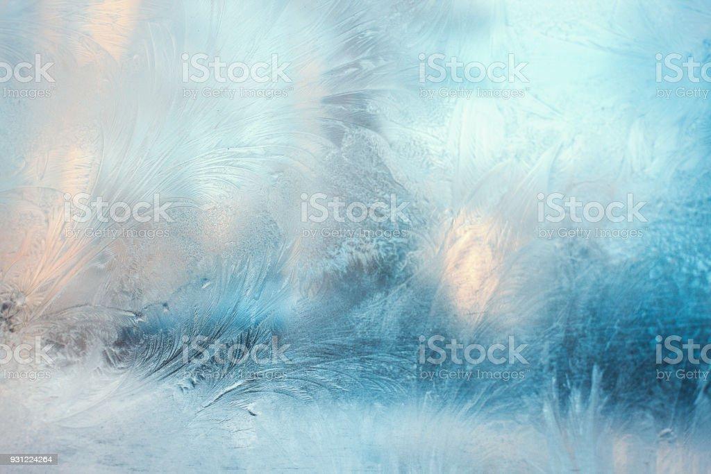 창에 다채로운 서리가 패턴 - 로열티 프리 0명 스톡 사진