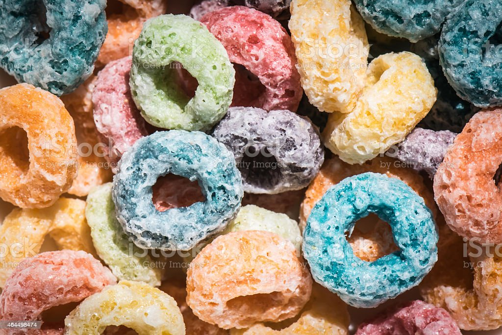 Colorful Fruit Cereal Loops stock photo