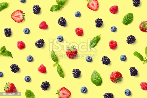 867774250 istock photo Colorful fruit pattern of berries and mint leaves 1078182102