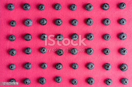 867774250 istock photo Colorful fruit pattern of blueberries on pink background. Top view. 1215202976