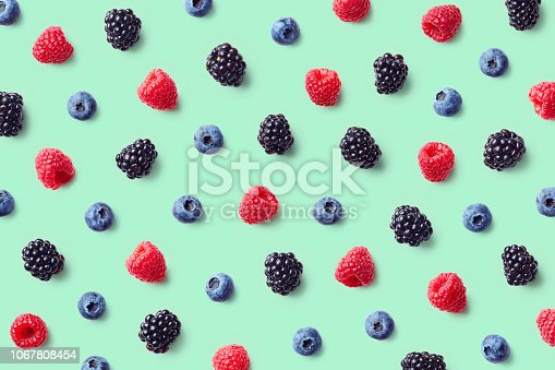 867774250 istock photo Colorful fruit pattern of wild berries 1067808454