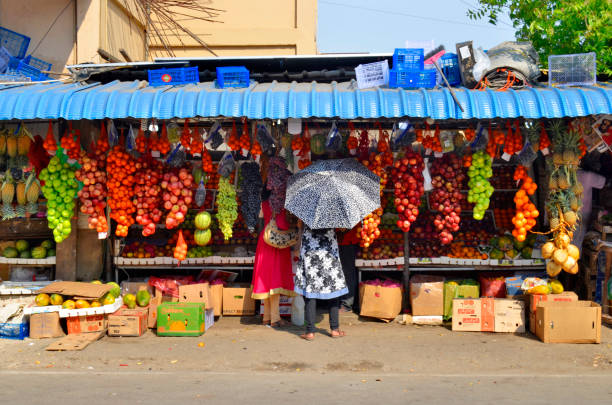 Colorful fruit stall in Jaffna stock photo