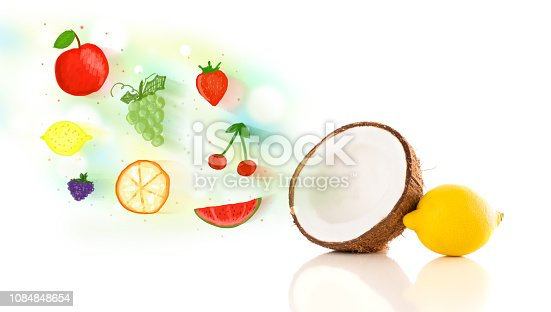istock Colorful fruits with hand drawn illustrated fruits 1084848654