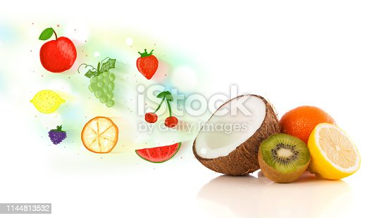 istock Colorful fruits with hand drawn illustrated fruits 1144813532