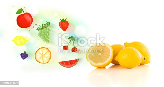 istock Colorful fruits with hand drawn illustrated fruits 898412078