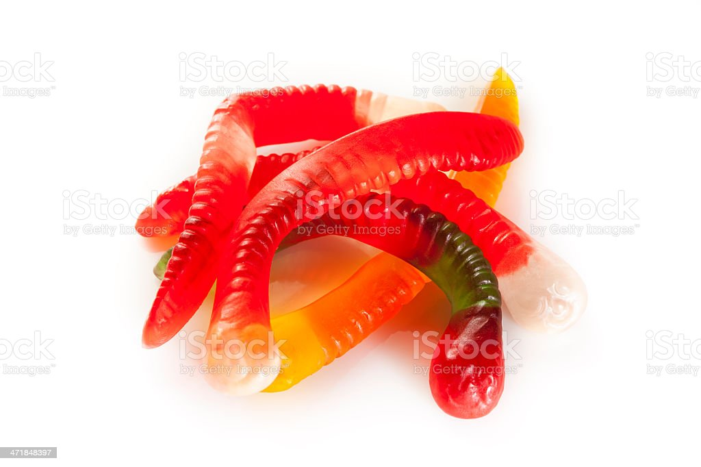 Colorful Fruity Gummy Worm Candy royalty-free stock photo