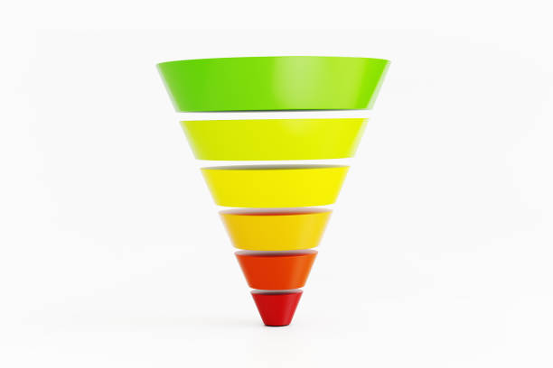 colorful funnel diagram on white background - sales funnel stock photos and pictures