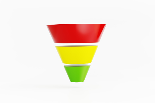 Colorful funnel diagram on white background. Horizontal composition with copy space and selective focus.